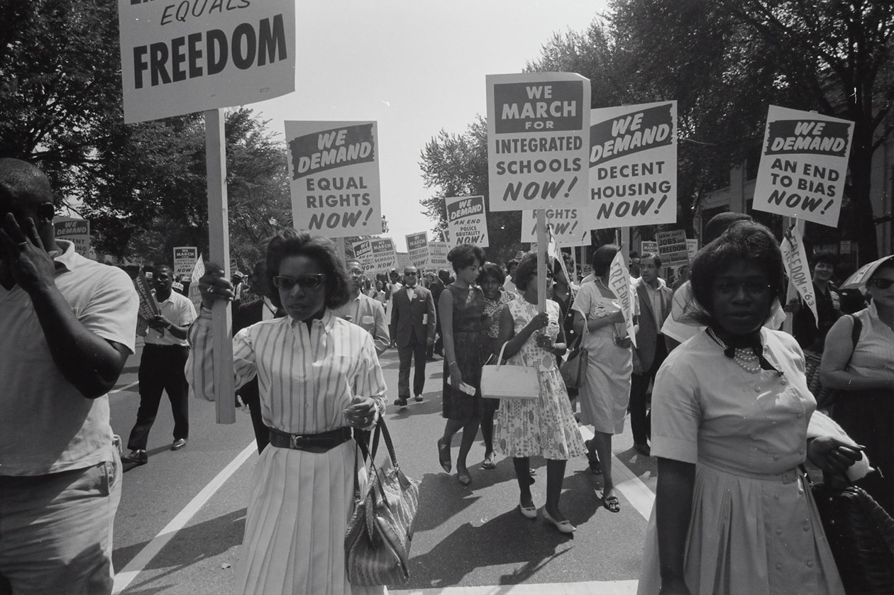 Historical image of women marching